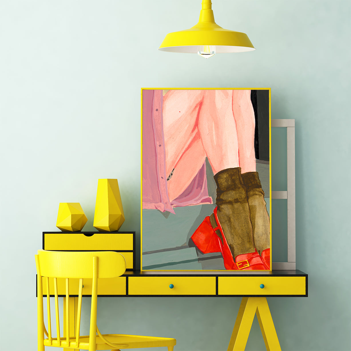 Colourful poster print of an originally painted art, with a woman's legs, office wall view