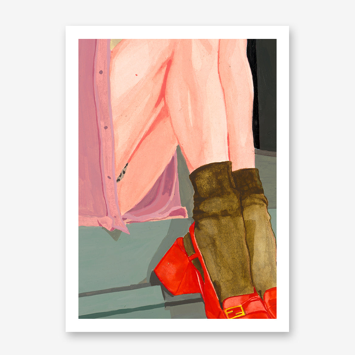 Colourful poster print of an originally painted art, with a woman's legs