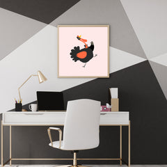 Square poster print with a turkey on pink background - room view