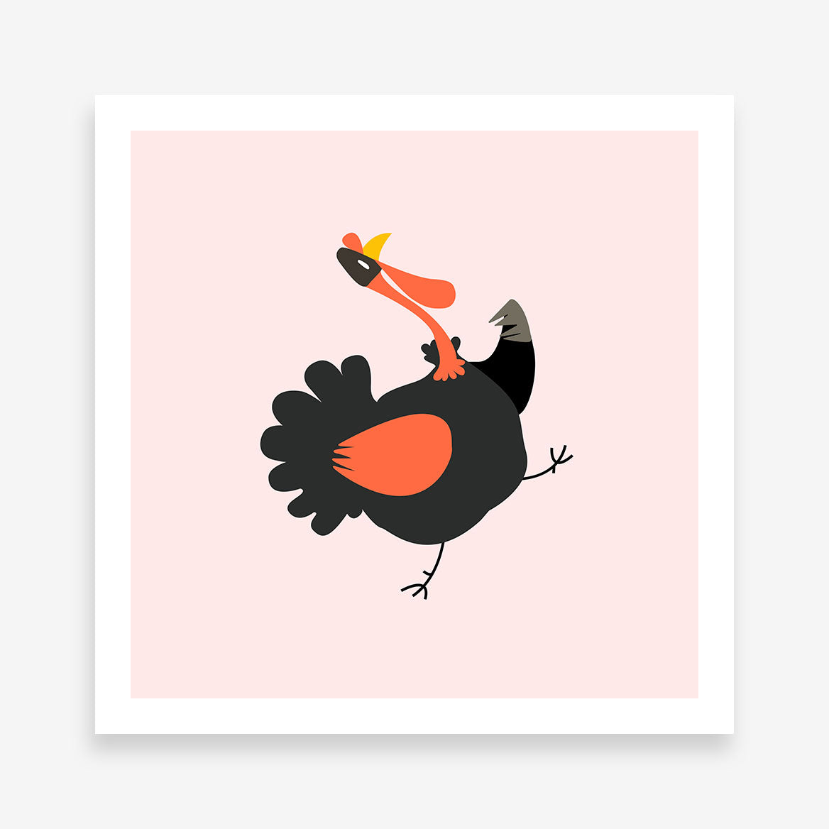 Square poster print with a turkey on pink background.