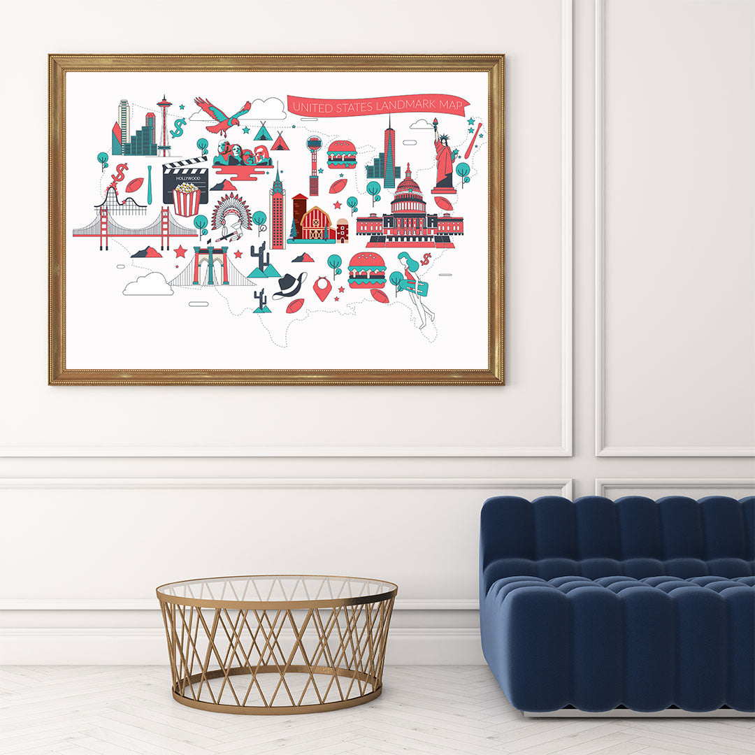 Poster print with colourful drawings of US landmarks, on a white background, framed