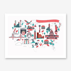Poster print with colourful drawings of US landmarks, on a white background.