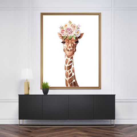 Poster print with a watercolour giraffe with pastel flowers crown, on white background
