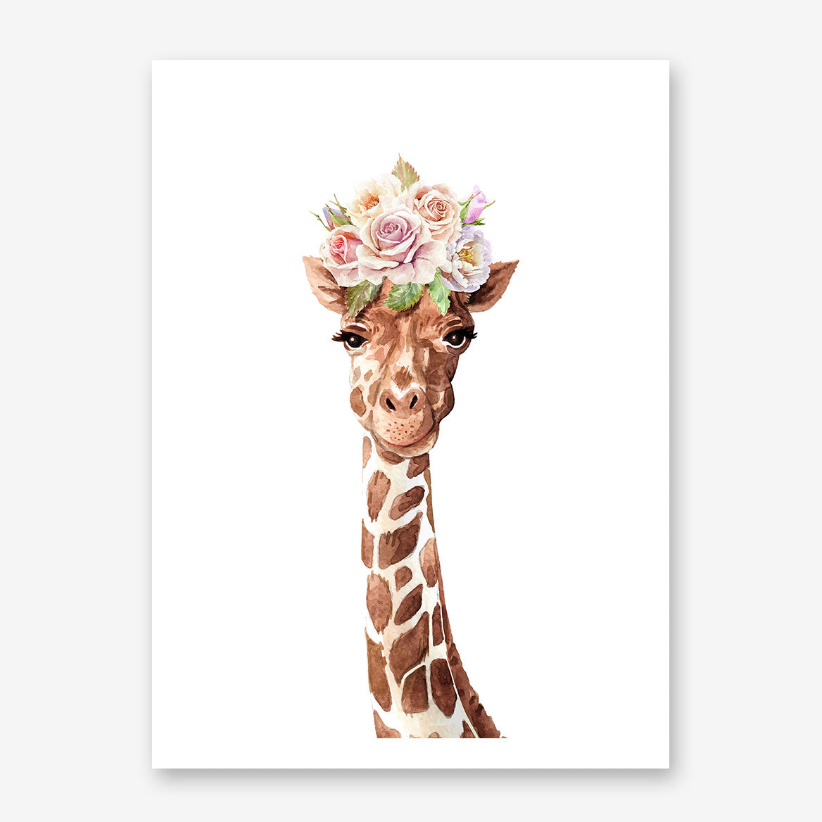 Art print with a watercolour giraffe with pastel flowers crown, on white background