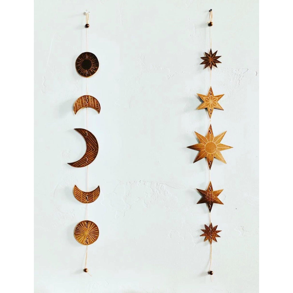 Crescent Moon LEATHER Wall Hanging