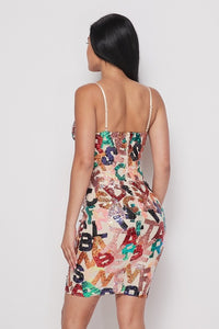 Letter Pattern Sequin Dress