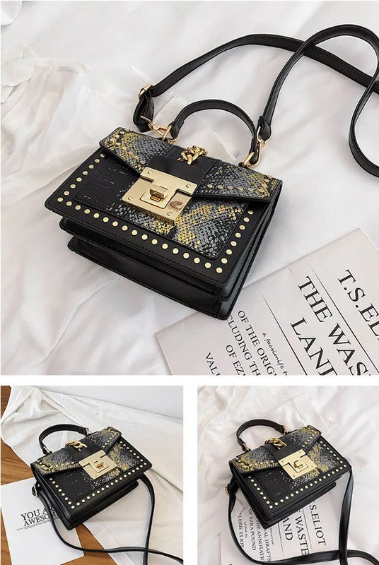 STUDDED SNAKE CROSS BODY PURSE HANDBAG(BLACK)