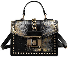 STUDDED SNAKE CROSS BODY PURSE HANDBAG(PINK)