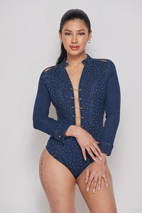 Long sleeves denim bodysuit-HOEA0198