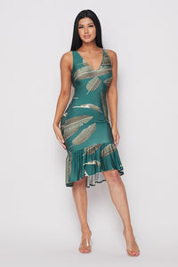 feather pattern printed dress-HOEA41768