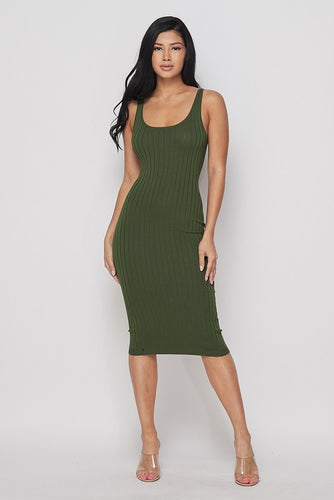 RIBBED TANK MIDI DRESS- HOEA21147