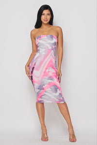 Printed Tube Dress- HOEA19119N