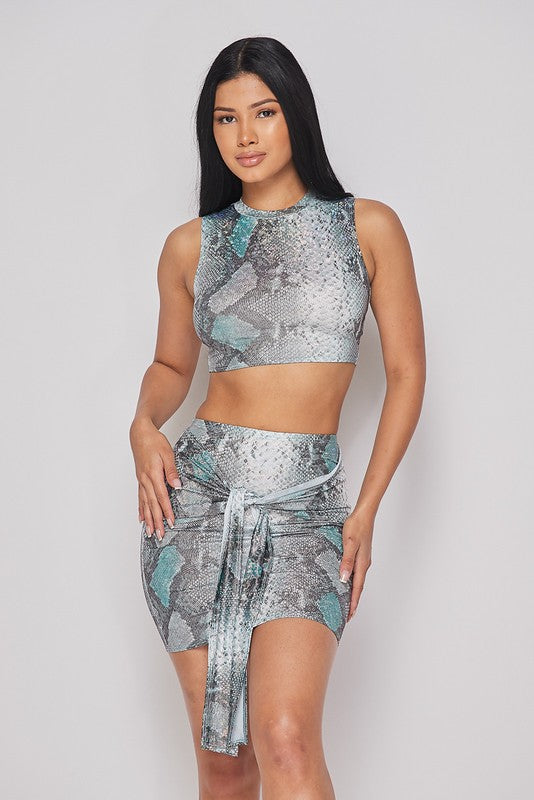 Snakeskin Skirt Sets-HOEA19217A