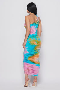 Dunty Shirring Tie Dye Maxi Dress-HOEA19430