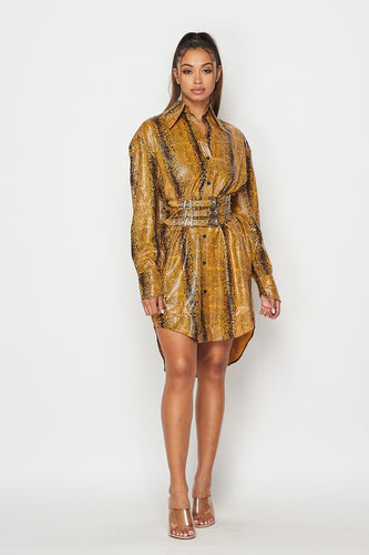 PLEATHER SNAKE PRINT SHIRT DRESS-HOEA3902-5