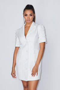 Boss Babe Blazer dress (WHITE)