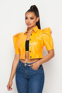 Power  shoulder Jacket (HOEA034) Yellow