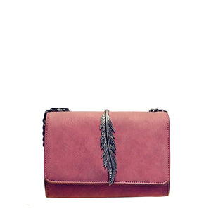 Metallic Leaf Detail Flap Chain Crossbody Bag