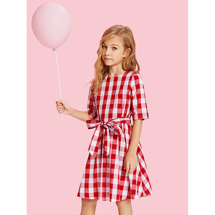 Girls Zip Back Plaid Print Belted Dress