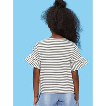 Girls Flounce Sleeve Knot Front Striped Top