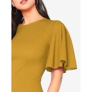 Flutter Sleeve Zip Back Pencil Dress