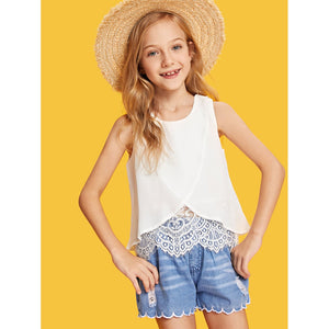 Girls Lace Insert Wrap Sleeveless Top
