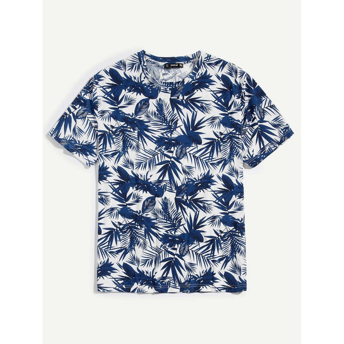 Men Palm Leaf Print T-shirt