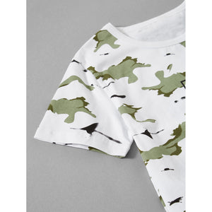 Letter Print Camo Tee With Frayed Hem Shorts