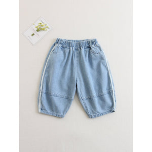 Kids Striped Side Elastic Waist Jeans