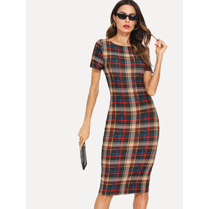 Form Fitted Plaid Dress