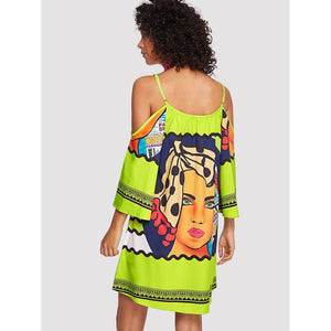 Cartoon Print Cold Shoulder Dress
