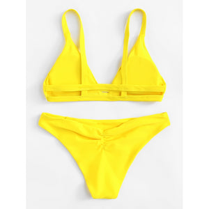 Caged Back Ruched Detail Bikini Set