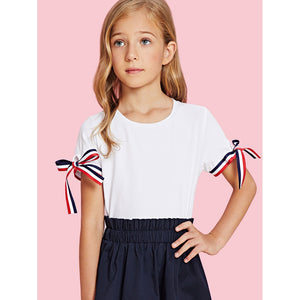 Girls Tied Striped Cuff T-shirt