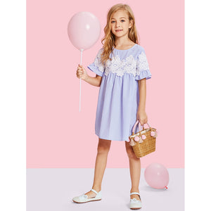 Girls Lace Appliques Ruffle Smock Dress