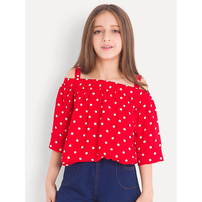 Girls Off Shoulder Polka Dot Top