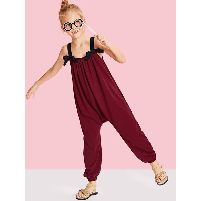 Girls Bow Tied Drop Crotch Elastic Hem Jumpsuit