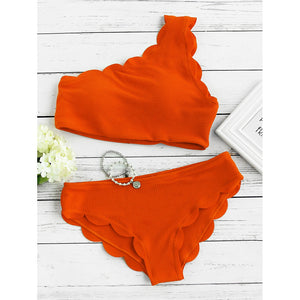 Scalloped Trim One Shoulder Bikini Set