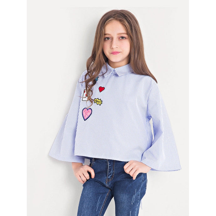 Girls Embroidery Knot Back Striped Top