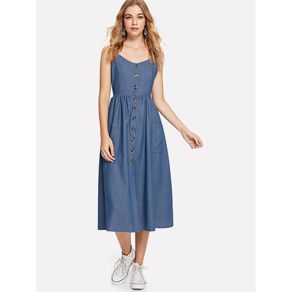 Button Front Denim Suspender Dress