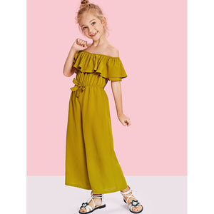 Girls Off Shoulder Waist Drawstring Flounce Jumpsuit