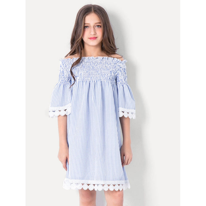 Girls Off Shoulder Pleated Striped Dress