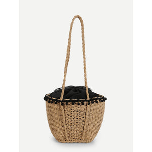Contrast Trim Straw Bag