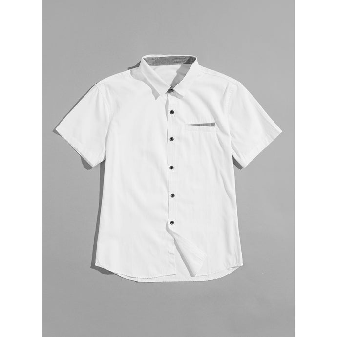 Men Button Detail Solid Shirt