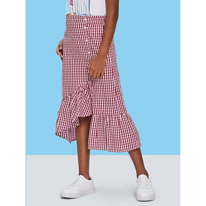 Girls Button Front Asymmetric Ruffle Gingham Skirt