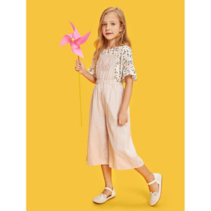 Girls Flower Embroidered Wide Leg Jumpsuit