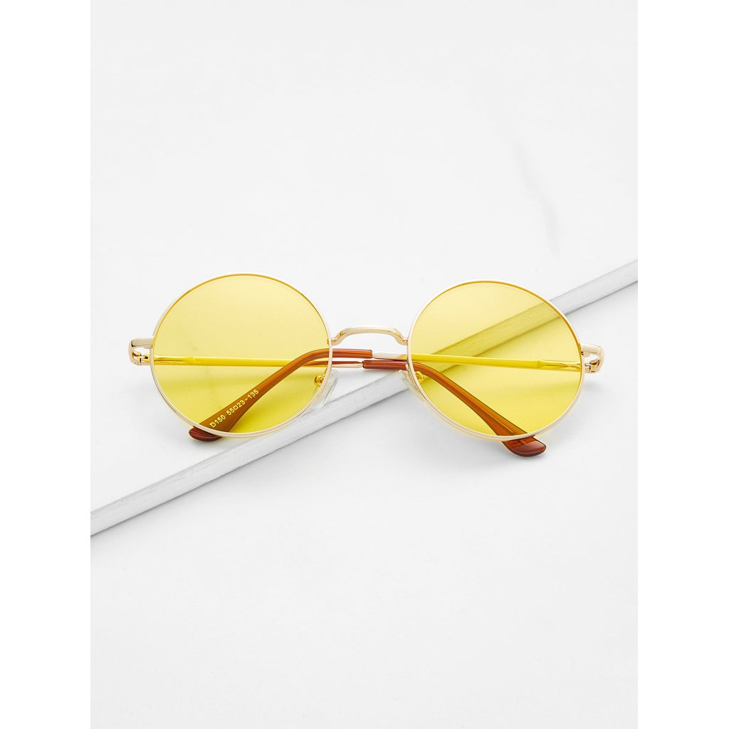 Metal Frame Yellow Round Lens Retro Style Sunglasses