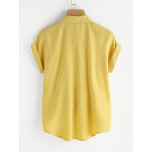 Rolled Cuff Knotted Hem Shirt