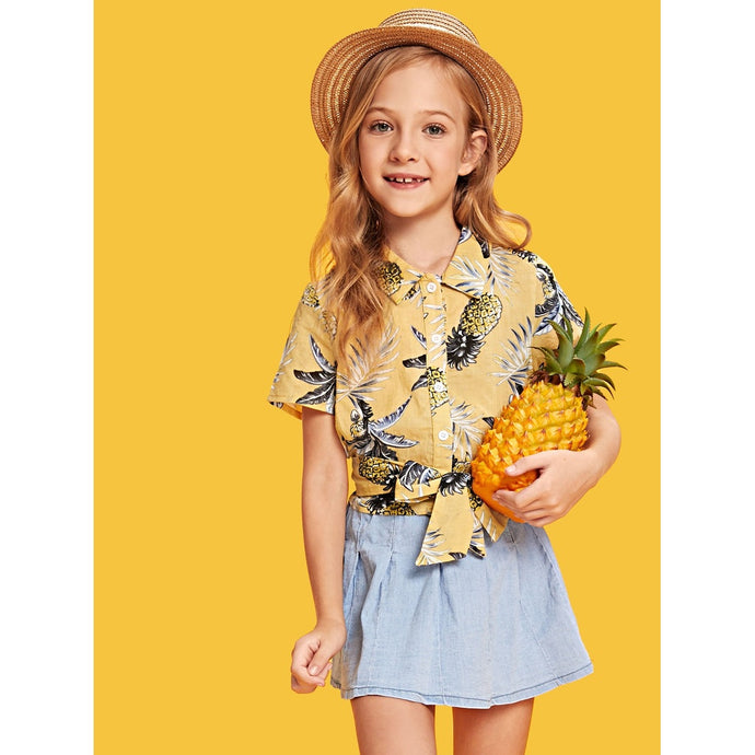Girls Tropical Print Belted Blouse