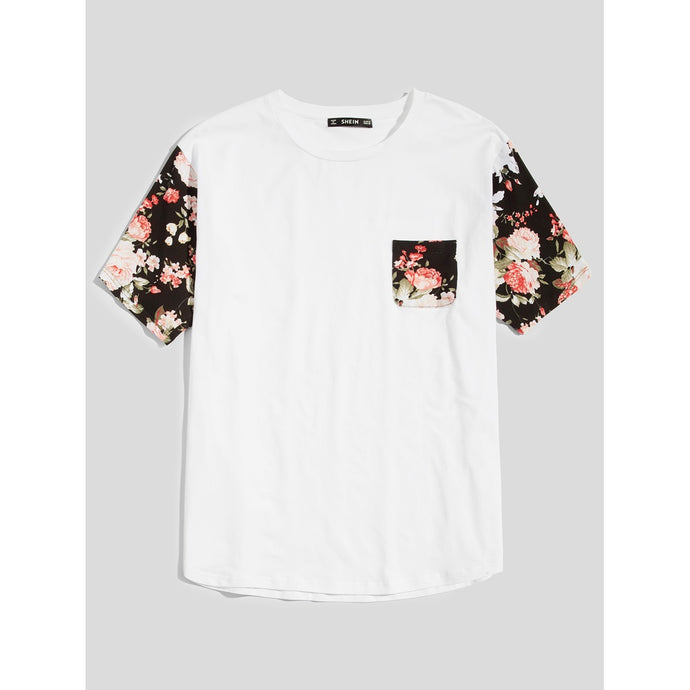 Men Floral Sleeve and Pocket T-shirt