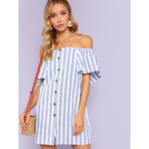Off Shoulder Button Up Striped Dress
